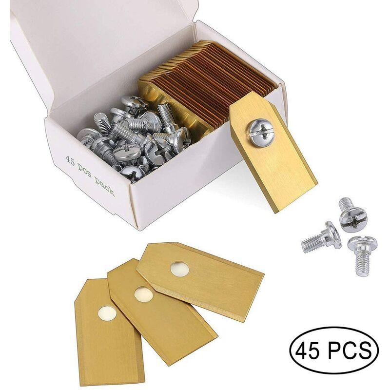 45 cuchillas de titanio para todos los cortacéspedes robóticos Husqvarn / Automower / Yardforce / Gardena (3g-0,75 mm) con 45 tornillos, cuchillas de