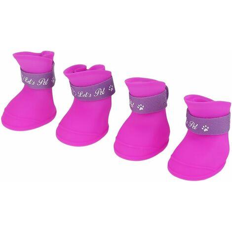 LangRay 4Pcs Chaussures Chien Bottes en Silicone Étanche Anti-dérapant De Protection Pluie Chaussures pour Chien Petit Animal(L/Purple)