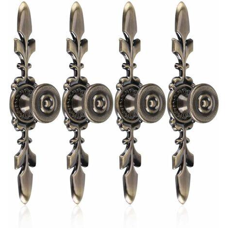 LangRay 4Pcs Poignées de tiroirs Vintage Style en Alliage de Zinc Bouton Traction de Meubles Tiroir Armoire Placard Armoire avec Vis Décoration Maison(Green Bronze)