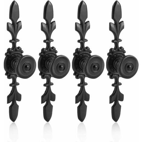 LangRay 4Pcs Poignées de tiroirs Vintage Style en Alliage de Zinc Bouton Traction de Meubles Tiroir Armoire Placard Armoire avec Vis Décoration Maison(Noir)
