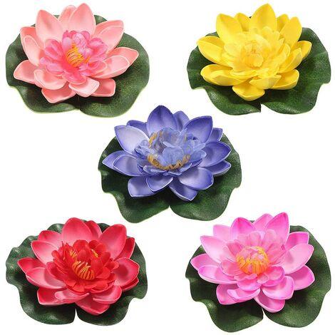 LangRay 5 uds lirio de agua artificial flotante flor de loto estanque hogar boda decoración 10cm