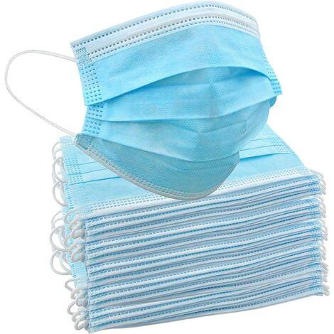 LangRay 50 masques jetables | Couverture 3 couches pour la protection du nez et de la bouche, élastiques, design universel et confortable, pour adultes