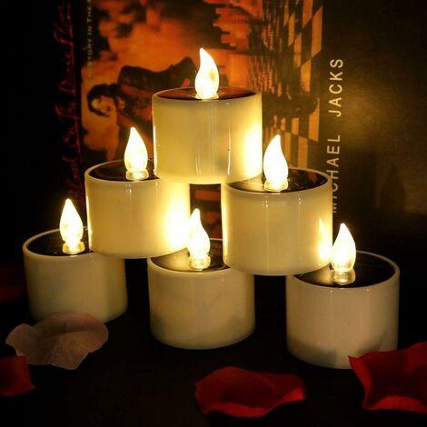 LangRay 6 velas solares brillantes con energía solar, velas LED sin llama para té, perfectas para Navidad, decoración del día de San Valentín, centro de mesa de fiesta, cumpleaños, boda