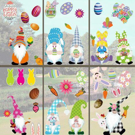 LangRay 60 piezas Kit de pegatinas de ventana de huevo de Pascua DIY ventana se adhiere flores de conejo decoración reutilizable juego de fiesta para niños
