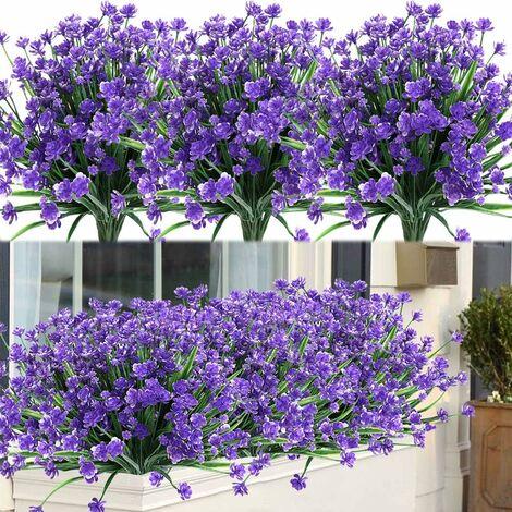 LangRay 8 paquetes de flores artificiales para exteriores, arbustos, plantas resistentes a los rayos UV, vegetación de plástico sintético para plantas colgantes de interior al aire libre, jardín, porche, ventana, caja, boda, hogar, granja, decoración (púr
