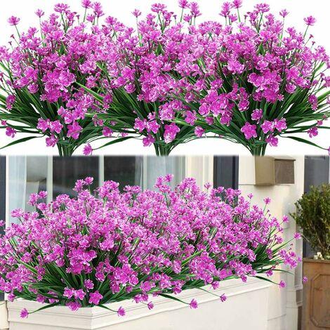 LangRay - 8 paquetes de flores artificiales para exteriores, arbustos, plantas resistentes a los rayos UV, verde de plástico sintético para plantas colgantes de interior al aire libre, jardín, porche, ventana, caja, hogar, boda, granja, decoración (fucsia