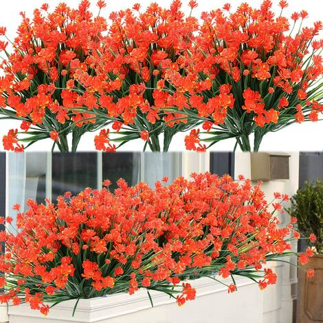LangRay - 8 paquetes de flores artificiales para exteriores, arbustos, plantas resistentes a los rayos UV, verde de plástico sintético para plantas colgantes de interior al aire libre, jardín, porche, ventana, caja, hogar, boda, granja, decoración (naranj
