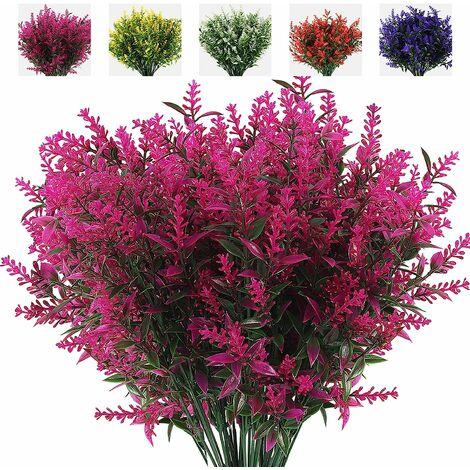 LangRay 8 ramos de flores artificiales, plantas de exterior falsas, flores artificiales de lavanda UV, arbustos de plástico, adornos de interior y exterior (púrpura)