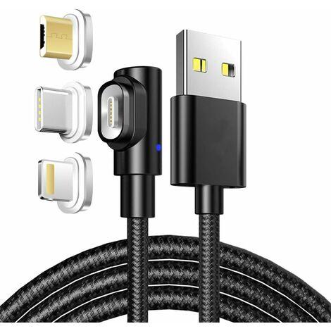 LangRay 90 ° USB Câble Magnétique 1M 3A Câble de Données et Câble de Charge avec Adaptateur Magnétique Flash Micro USB Type C pour Phone XS XR X8 Samsung Galaxy S9 S8 S7 Huawei Motorola Nokia Kindle