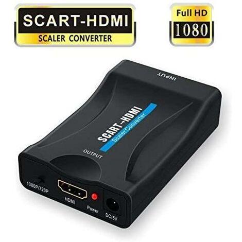 LangRay Adaptador SCART a HDMI, convertidor 1080P SCART a HDMI con cable de alimentación USB para conectar un decodificador, un reproductor de DVD, una caja STB