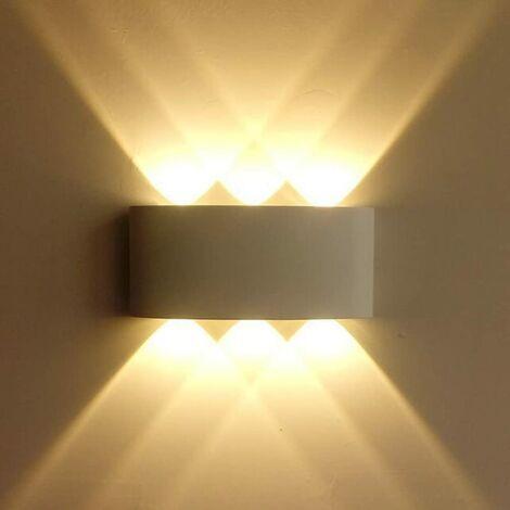 LangRay Aplique de pared LED para interiores 6W Iluminación para exteriores Impermeable IP65 Aluminio Light Up Down Spot para dormitorio Sala de estar Escalera Jardín Terraza Patio Blanco cálido [Clase energética A ++] [Clase energética A ++]