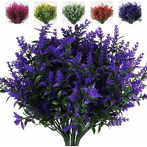 LangRay - Arbustos artificiales de hojas verdes y lavanda, 8 ramos de protección UV, macetero colgante, flora, decoración de interiores y exteriores, mesa de boda, arreglo floral, relleno de ramo (púrpura)