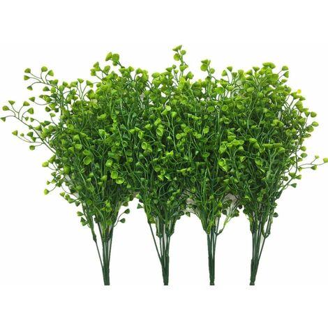 LangRay - Arbustos artificiales de plástico, plantas verdes falsas, interiores, exteriores, bodas, jardín, terraza, cocina, oficina, centros de mesa, arreglos, decoración navideña, color verde, 4 piezas