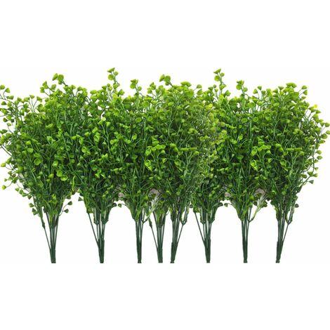 LangRay - Arbustos artificiales de plástico, plantas verdes falsas, interiores, exteriores, bodas, jardín, terraza, cocina, oficina, centros de mesa, arreglos, decoración navideña, color verde, 8 piezas