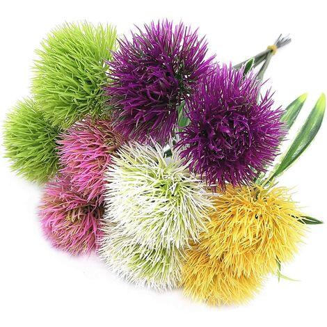 LangRay Artificial Dandelion Flowers,Plastic Plants Shrubs Bushes Fake Grass Wedding Indoor Outdoor Home Garden Decoration Planter Filler-5 Color x 2pcs Purple Pink White Green Yellow–Total 10 Pcs