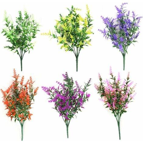 LangRay artificielles fausses fleurs 6 paquets de 6 couleurs extérieur résistant aux UV verdure arbustes plantes intérieur extérieur suspendu jardinière maison jardin décoration