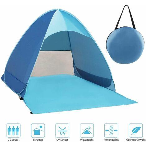 LangRay Beach Mussel, tente de plage très légère portable, abri soleil pour 2-3 personnes, y compris sac de transport et pcs de tente, protection UV, tente de plage pour famille, plage, jardin, camping bleu