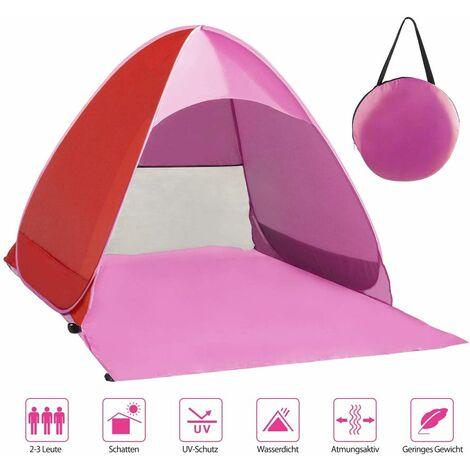 LangRay Beach Mussel, tente de plage très légère portable, abri soleil pour 2-3 personnes, y compris sac de transport et pcs de tente, protection UV, tente de plage pour famille, plage, jardin, camping Rose