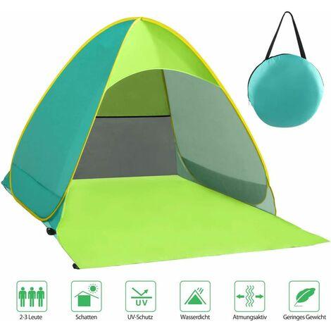 LangRay Beach Mussel, tente de plage très légère portable, abri soleil pour 2-3 personnes, y compris sac de transport et pcs de tente, protection UV, tente de plage pour famille, plage, jardin, camping vert