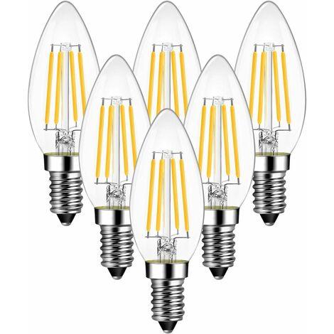 LangRay - Bombilla de vela de filamento LED E14 de 4 W, 470 lúmenes equivalente a una bombilla halógena vintage de 40 W, blanco cálido 2700 K, no ajustable, paquete de 6 [Clase energética A ++]