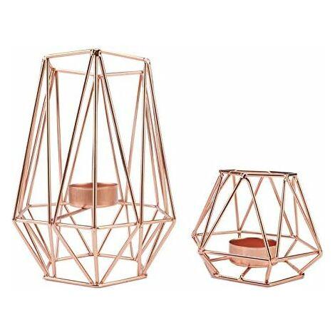 LangRay Bougeoir en métal, bougeoir géométrique, bougeoir en fer moderne, bougeoir de style simple.