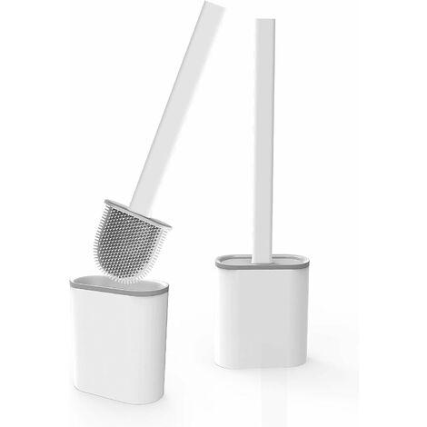 LangRay Brosse WC Silicone 2 Pcs avec Support Brosse Toilette Suspendu Antibactérienne Balayette WC pour Salle de Bains Blanc