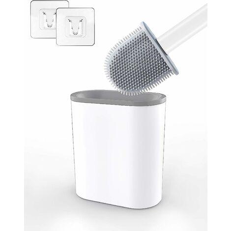 LangRay Brosse WC Silicone avec Support Brosse Toilette Suspendu Antibactérienne Balayette WC pour Salle de Bains Blanc