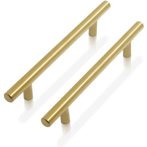 """main image of """"LangRay Cabinet Handle Brass - door bar T-shaped door knobs for kitchen furniture, stainless steel - 9 sizes: 50mm, 64mm, 76mm, 96mm, 128mm, 160mm, 192mm, 224mm, 256 mm (1pc)"""""""