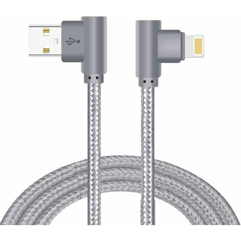 LangRay Câble pour Phone, Câble Lightning vers USB [à Angle Droit de 90 degrés] en Fibre de Nylon Tressé pour iPhone 12pro/12/11/X/XS/8/7/6/5 - [Gris,6FT/2M]