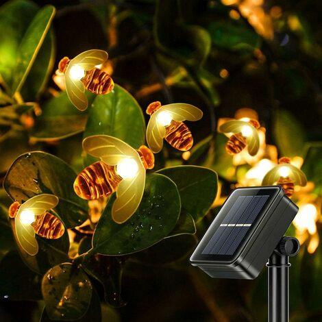 LangRay - Cadena de luces solares, cadena de luces de abeja, 30 LED, 6,3 m, luces de cadena, decoración impermeable, luces de cadena de hadas para fiestas en el jardín, bodas, noche, blanco cálido