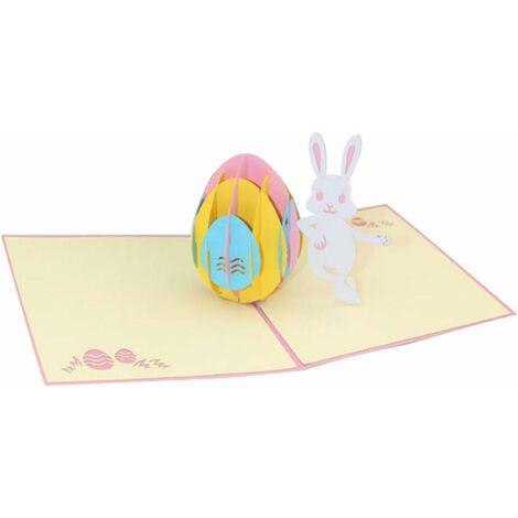 LangRay Cartes 3D faites à la main Motif lapin de Pâques