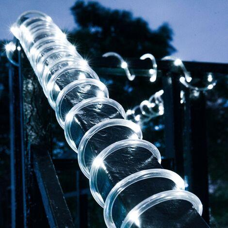 LangRay - Cinta de luz solar de 12 m, 100 LED para exteriores, impermeables, de cuerda, luces de cuerda, para Navidad, jardín, jardín, camino, cerca, árbol