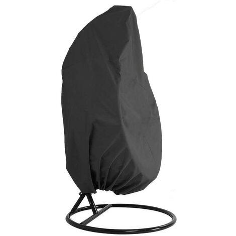 LangRay Cubierta para muebles de jardín - Cubierta para muebles de silla colgante impermeable de mimbre de ratán para jardín - Cubierta para silla con protección de huevos - Cubierta de PVC de poliéster Oxford 210D - Negro