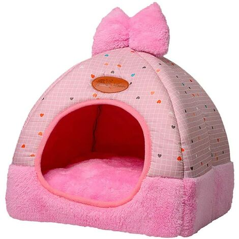 """main image of """"LangRay Dog Cat Bed Indoor Fabric Cat Bed with Mat Warm Washable Pet Cushion for Fall and Winter 2 in 1 Dog Bed Small Dog House"""""""