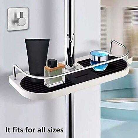 LangRay - Estante de ducha telescópico con poste ajustable, organizador de baño, jabonera multifunción para almacenar champú, loción de jabón, 1 ganchos para toallas incluidos (No incluye barra de ducha telescópica)
