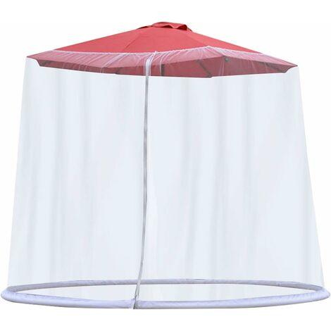 LangRay Exnemel Filet de parasols, écran de Couverture de Filet de Parapluie, écran de Table de Parasol de Jardin extérieur Couverture de moustiquaire de Parasol, 300x230cm (Blanc)