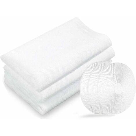 LangRay Filet moustiquaire, moustiquaires de fenêtres, 3 paquets 130 cm x 150 cm Insectes de la protection de la fenêtre se moustiquaire fenêtres, avec 3 rouleaux de rubans adhésifs, blanc