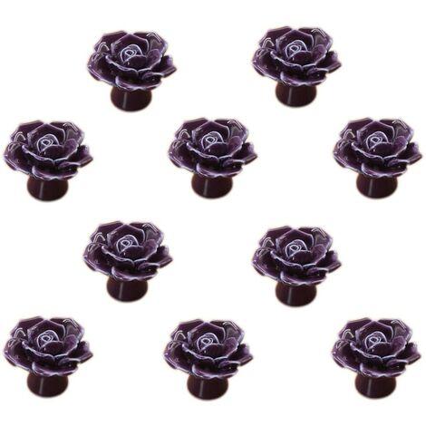 "main image of ""LangRay Fleur Rose Ceramic Door Handle Dresser Kitchen Cabinet Cupboard Drawer Handles 10 Pack, Purple"""