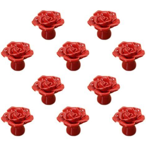 "main image of ""LangRay Fleur Rose Ceramic Door Handle Dresser Kitchen Cabinet Cupboard Drawer Handles 10 Pack, Red"""
