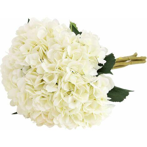 """main image of """"LangRay - Flor de hortensia artificial, 5 piezas de tallo largo de seda único, 6,3 pulgadas, ramos de hortensias para bodas, hogar, hotel, decoración de fiestas, arreglos florales (blanco)"""""""