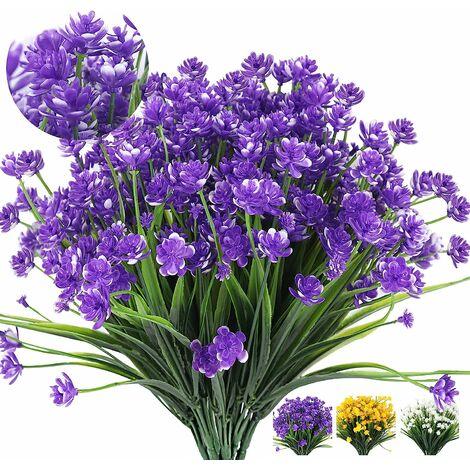 LangRay Flores artificiales 8 paquetes de plantas de flores falsas para decoración al aire libre, plástico de imitación al aire libre resistente a los rayos UV, arbustos, plantas, plantas colgantes, macetero, cocina, hogar, boda, jardín, decoración (púrpu
