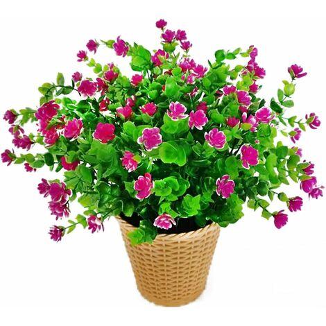 LangRay Flores artificiales de eucalipto, ramo de flores de plantas artificiales verdes, flores de decoración de plástico para jardín / hogar / boda / fiesta, 4 piezas (Lotus Red)