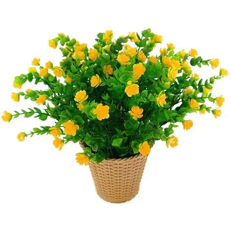 LangRay Flores artificiales de eucalipto, ramo de flores de plantas artificiales verdes, flores de plástico para decoración de jardín / hogar / boda / fiesta, 4 piezas (rojo)