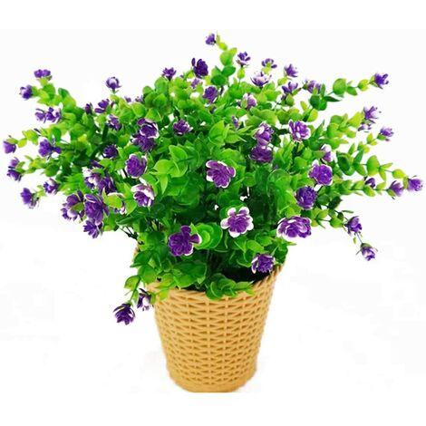 LangRay Flores artificiales de eucalipto, ramo de flores de plantas artificiales verdes, flores decorativas de plástico para jardín / hogar / boda / fiesta, 4 piezas (púrpura)