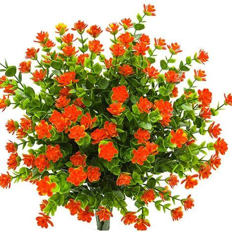LangRay Flores artificiales falsas, paquete de 4 plantas de eucalipto artificial al aire libre resistente a los rayos UV, arbustos, plantas, interior, exterior, maceta colgante, decoración del jardín del hogar (naranja)
