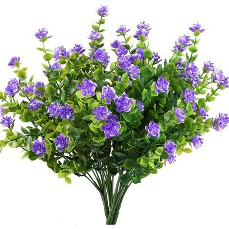 LangRay Flores artificiales falsas, paquete de 4 plantas de eucalipto artificial al aire libre resistente a los rayos UV, arbustos, plantas, interior, exterior, maceta colgante, decoración del jardín del hogar (púrpura)