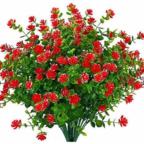 LangRay Flores artificiales falsas, paquete de 4 plantas de eucalipto artificial al aire libre resistente a los rayos UV, arbustos, plantas, interior, exterior, maceta colgante, decoración del jardín del hogar (rojo)