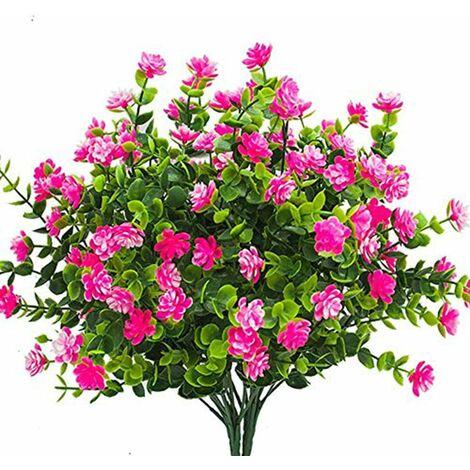LangRay Flores artificiales falsas, paquete de 4 plantas de eucalipto artificial para exteriores resistentes a los rayos UV, arbustos, plantas, macetas colgantes para interiores y exteriores, decoración para el jardín del hogar (rosa)