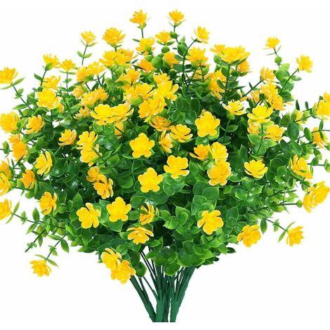 LangRay Flores artificiales falsas, paquete de 4 plantas de eucalipto artificial para exteriores resistentes a los rayos UV, arbustos, plantas, macetero colgante para interiores y exteriores, decoración para el jardín del hogar (amarillo)