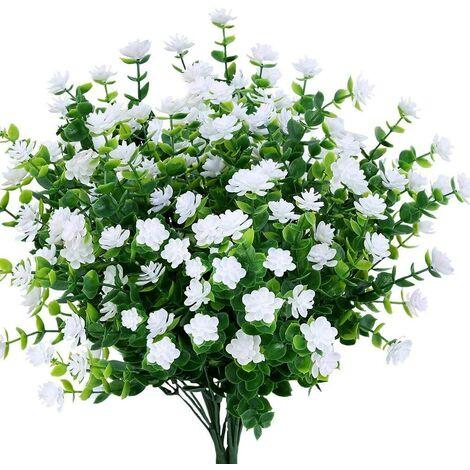 LangRay Flores artificiales falsas, paquete de 4 plantas de eucalipto artificial para exteriores resistentes a los rayos UV, arbustos, plantas, macetero colgante para interiores y exteriores, decoración para el jardín del hogar (blanco)